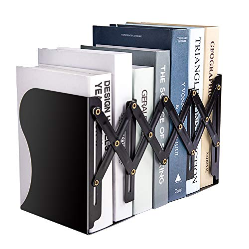 MDHAND Adjustable BookendExpandable Magazine File Organizer Holders for Desk Shelf Office Stationery Extends up to 19 inches Black
