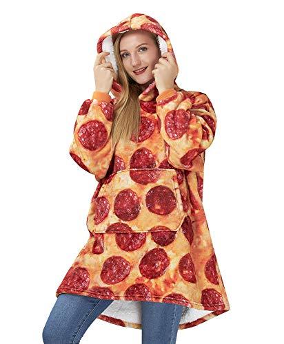Goodstoworld übergroßeHoodieDecke Pullover 3D Pizza Sherpa Fleece Sweatshirt Blanket Erwachsene Jugendliche Ultra Soft Decke Sweater