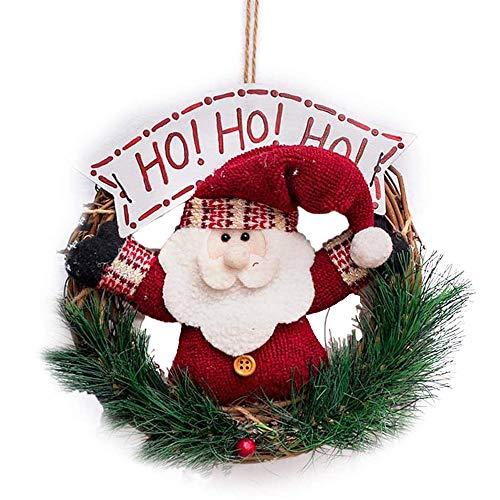 YOUYIKE Coronas Navideñas Decoración de Navidad Papá Noel Colgante Árbol de Navidad Colgante Adornos,Corona de Puerta de 23cm,Navidad Fiesta Regalo (H-C)