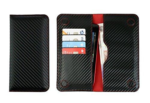 Emartbuy Nero/Rosso Carbon PU Pelle Portafoglio Sottile Magnetico Custodia Case Cover Sleeve (Size 4) Compatibile con Smartphone Elencati sotto