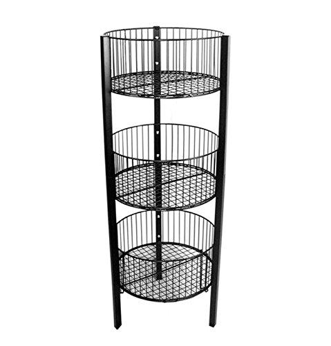 AMKO 3332B 3-Tier Bin – Floor Standing Fixture for Household Needs, Storage Baskets. Retail Store Fixtures, Equipment