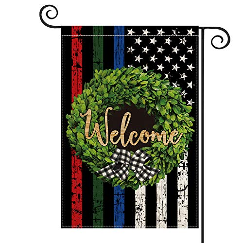AVOIN Blue Green and Red Line American Flag Boxwood Wreath Garden Flag Vertical Double Sided, Honoring Police Military and Fire Officers Flag Rustic Flag Yard Outdoor Decoration 12.5 x 18 Inch