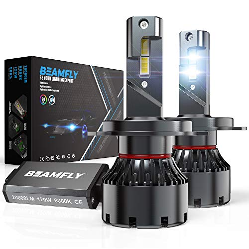 BEAMFLY H4 9003 HB2 LED Bombillas 20000LM 120W para 12V Coches, 6000K Blanco
