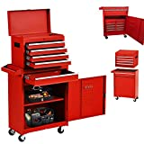 X&T Composite Rolling Tool Box, Detachable Tool Chest Organizers Lockable Tool Box with 4 Wheels and 5 Drawers, High Capacity Tool Storage Cabinet Made of Heavy Steel, for Garage & Warehouse