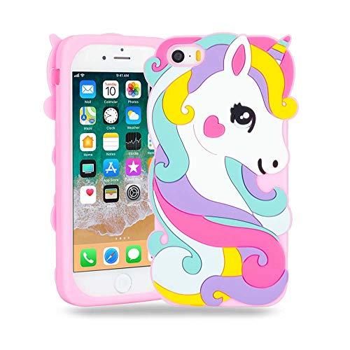 BJTRADE Funda iPhone SE/5S/5C/5, Divertidas 3D Unicornio de Silicona Suave Animales Carcasa Antichoque Protección Anti-rasguños Resistente Bumper Fundas Case Cover (Rosa)