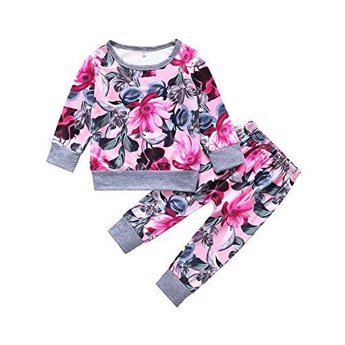 BOBORA Ensemble Bébé Filles, 2PCs Vêtements Bébé Filles Automne T-Shirt en Coton à Fleurs à Manches Longues + Pantalon Long 0-2Ans