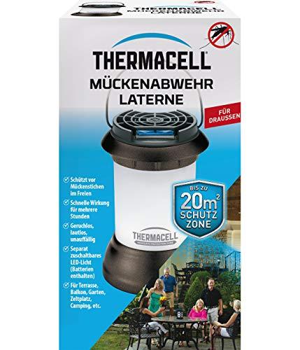 Thermacell Mückenabwehr Laterne, Mückenschutz mit sanfter LED Umgebungsbeleuchtung, dekorativ und effektiv gegen Mücken im Garten, auf der Terrasse oder dem Balkon