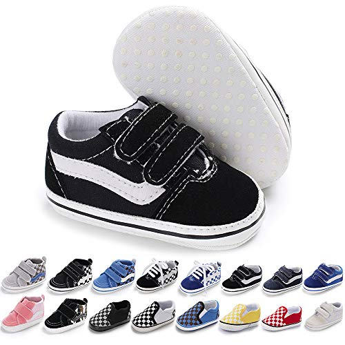 Baby Girls Boys Canvas Sneakers Soft Sole High-Top Ankle Infant First Walkers Crib Shoes (6-12 Months Infant, G/Black)
