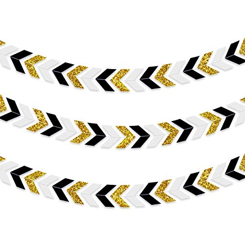 TONIFUL 3Pcs Arrow Garland Party Decorations Black Gold Paper Arrow Banner Triangle Flags Bunting Garland for Baby Show Bridal Shower Wedding Birthday Party Backdrop Supplies