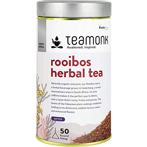 Teamonk Red Rooibos Herbal Tea Bags | 50 Teabags | Naturally Caffeine Free | Detox Herbal Tea | Red Bush Cederberg ,South Africa | No Additives