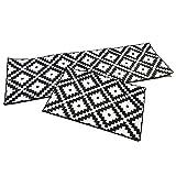 YUHG Negro Blanco patrón geométrico Cocina Alfombra Alfombra...