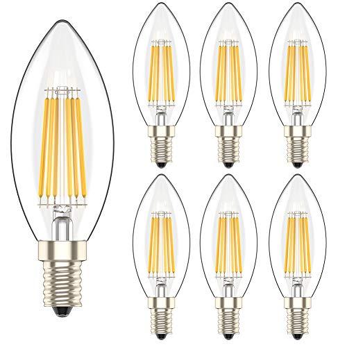6 Pezzi 6W E14 Dimmerabile Lampadina Filamento Luce Calda LED Bianco Caldo 2700K Lampadine Candela Equivalenti a 60W Incandescenza