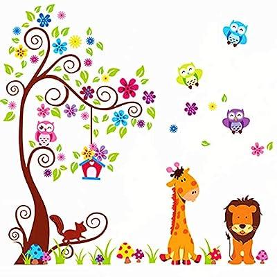Jungle Animal Tree Wall Decal Lion Giraffe Wall Stickers Decals Kids Baby Room Nursery Bedroom Wall Decor Decoration