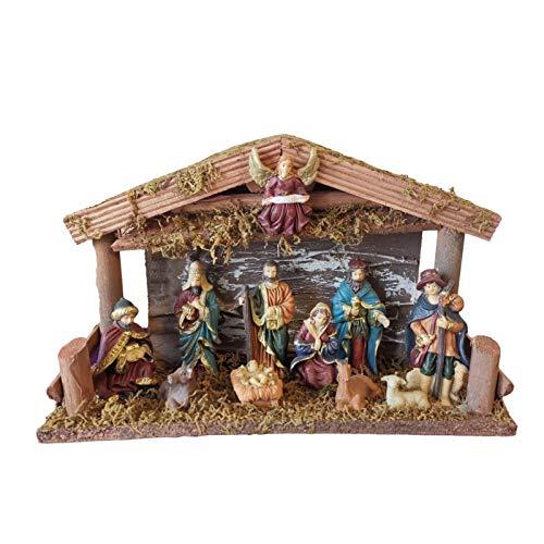 Krippenset - Weihnachtskrippe Mit Beleuchtung Und Figuren, Krippe Set - Portal Und Geburt - Weihnachten Figuren Mit Engel Für Holiday Decor