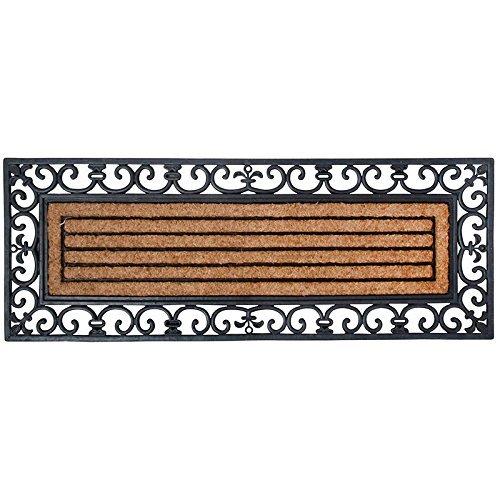 Esschert Design Schmutzfangmatte, Fußmatte in schwarz aus Gummi, mit Kokoseinlage, rechteckig, extra breit, ca. 120 cm x 45 cm