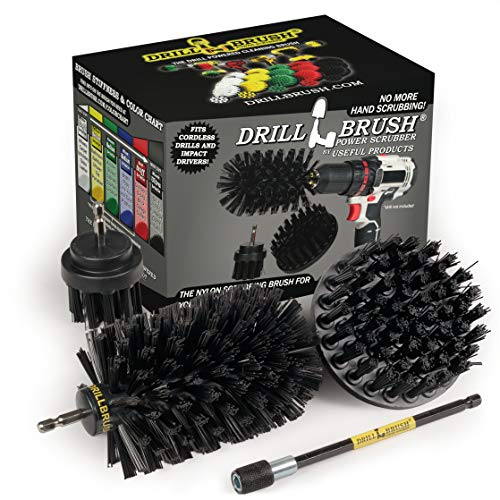Drill Brush Power Scrubber by Useful Products - Wire Brush Replacement Drill Brushes - Power Tool Accessories - Nylon Bristle Grill Brushes for Cleaning Grill Grates - Oven Grate Cleaning Set