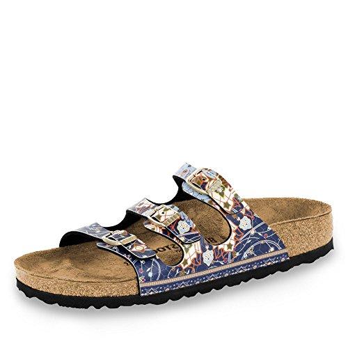 BIRKENSTOCK Florida Ancient Sandale mit Orig. Kork-Latex Fußbett, Birko-Flor® Obermaterial mit Digital-Druck in Mosaik-Optik, Fleece-Lining, Blau (Blue), EU 40S,
