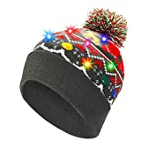 LNKK LED Light Up Christmas Beanie Hat LED Light Knit Cap Xmas Party Beanie Hat LED Knitted Flashing Beanie Hat Novelty Beanies Knit Hats LED Christmas Hats for Adults Kids