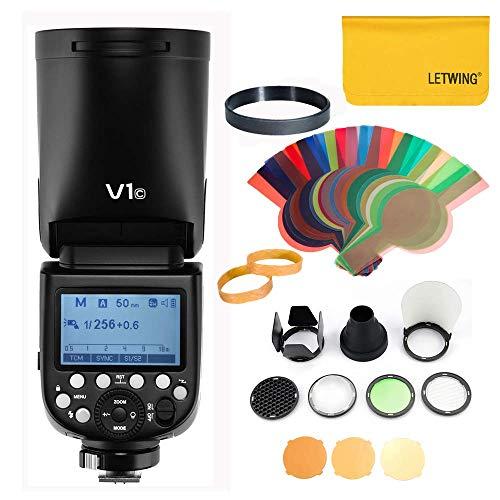 Godox V1C TTL 1 / 8000s HSS Runder Kamera Blitz + AK-R1 Taschenlampe für Canon Kamera