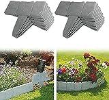 XIAOBUDIAN - Bordes de jardín con efecto piedra gris, perfecto como valla decorativa para valla, borde de jardín, piedra flexible (lote de 40, grandes)