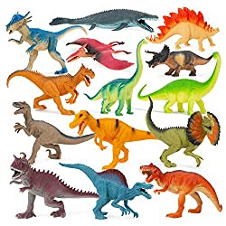 4. Boley 9″ Long Dinosaur Toys with Educational Pamphlet (14 pieces)
