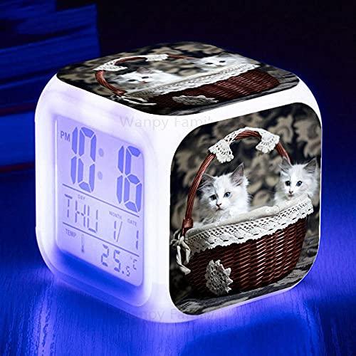 Despertador LED Gato en Canasta Luz de Escritorio de Destello Colorida para niños Calendario de Temperatura Cuadrado Reloj Despertador