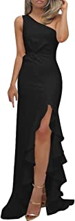 Womens One Shoulder Side Ruched Formal Evening Dress Slit Ruffle Long Maxi Dresses Black L