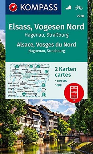 WK 2220 Elsass, Vogesen Nord (2-K-Set): 2 Wanderkarten 1:50000 im Set inklusive Karte zur offline Verwendung in der KOMPASS-App. Fahrradfahren. (KOMPASS-Wanderkarten, Band 2220)