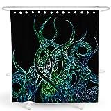 DESIHOM Octopus Duschvorhang, Kraken Duschvorhang nautischer Duschvorhang schwarz Duschvorhang Ocean Duschvorhang cooler Duschvorhang Tentakel Polyester wasserdicht Duschvorhang 157 x 182 cm