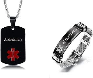 Sunling 2 Pack Free Custom Engraving Stainless Steel Medical Alert ID Bracelet Dog Tag Necklace Set for Men Women,Black