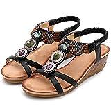 XJST Sandalo Casual da Donna, Sandalo Piattaforma 5 Cm, Estate Confortevole con Cinturino alla Caviglia A Punta Aperta Sandalo Leggero,Nero,41