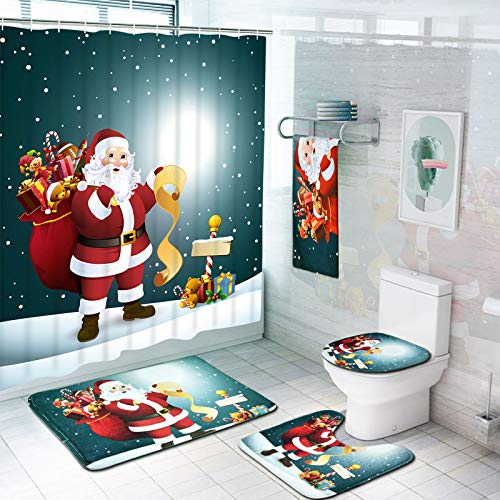 TAMOC 7 Piece Christmas Santa Claus Shower Curtain Set with Rugs and Towels, Include Non-Slip Rug, Toilet Lid Cover, Bath Mat and Towels, Waterproof Xmas Shower Curtain with 12 Hooks