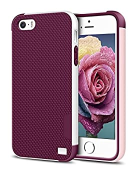 iPhone 5/5S SE Case EXSEK Hybrid Impact Ultra Slim 3 Color Shockproof Case [Anti-Slip] [Extra Front Raised Lip] Scratch Resistant Soft Gel Bumper Rugged Case for iPhone 5/5S  Wine Red