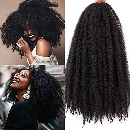 3 Packs Afro Kinky Marley Hair for Twists Braiding Hair Crochet Braids Synthetic Hair Extensions 18 Inch (1B#)