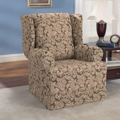 SureFit Scroll Wing Chair Slipcover, Brown