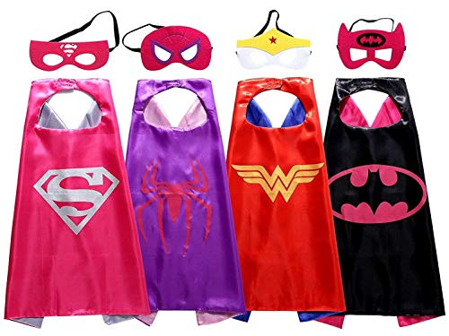 Asgift Cape and Mask Set of 4 Different Comics Cartoon Dressing Up Costumes for...