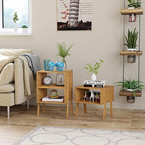 Mesa de Noche de bambú, Juego de 2 mesas de Noche, Mesa Auxiliar apilable con estantes Abiertos, Almacenamiento de Libros
