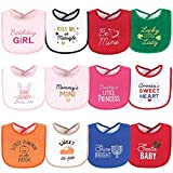 Hudson Baby Unisex Baby Cotton Terry Drooler Bibs with Fiber Filling, Cute Girl Holiday Sayings, One Size