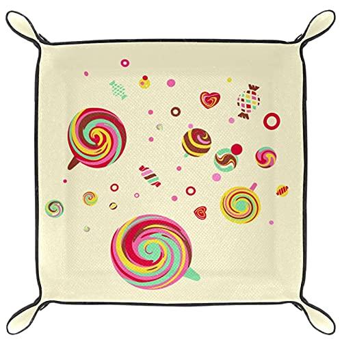 YATELI Caja de Almacenamiento pequeña, Bandeja de Valet para Hombre,Lollipop de Comida,Organizador de Cuero para Llaves de Caja de Monedas