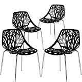 EdgeMod Birds Nest Dining Side Chair in black (Set of 4)