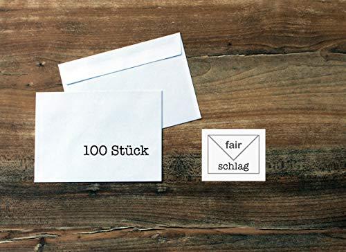 100 Briefumschläge - C6 - weiß mit grauem Innendruck - haftklebend - ohne Fenster