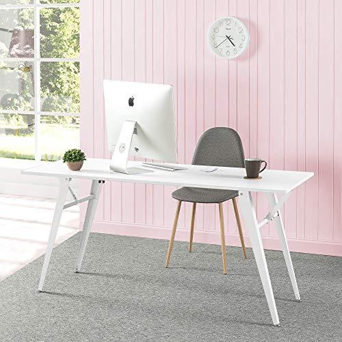 ZINUS Lindy 160 cm White Metal Folding Desk | Multipurpose Folding Table | Office Desk | Computer Workstation | Water-Resistant Finish | Zero Assembly