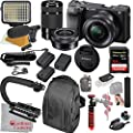 Sony Alpha a6400 Mirrorless Camera with 16-50mm and 55-210mm Lenses, Video Bundle + LED Video Light + Microphone + Extreme Speed 64GB Memory(21pc Bundle) from Cardinal Camera-Sony