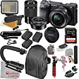 Sony Alpha a6400 Mirrorless Camera with 16-50mm and 55-210mm Lenses, Video Bundle + LED Video Light + Microphone + Extreme Speed 64GB Memory(21pc Bundle)