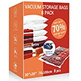 VacPack Space Saver Bags,8 Pack Jumbo Vacuum Storage Bags with One Free Hand Pump for Home and Travel (8J)