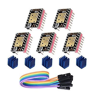 BIQU DIRECT 3D Printer Part Ultra Silent TMC2208 V3.0 Stepper Motor Driver Module with Heatsink for SKR V1.3 MKS GEN L Ramps 1.5/1.6 Control Board (Pack of 5) (UART Mode)