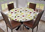 Mantel redondo para cocina, mantel con bordes elásticos, delicioso y maduro sandía, kiwi, melocotón, naranja, aguacate, limón, acuarela multicolor, mantel para exteriores