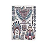 Tribal Case for iPad Air 4 10.9 Inch 2020, Ethnic Teepee Tents Eagle Symbol Moon Sun and Feather Chief Hat Print Decorative Multi-Angle Viewing Cover [Supports Pencil 2nd Gen Charging], Auto Sleep/W