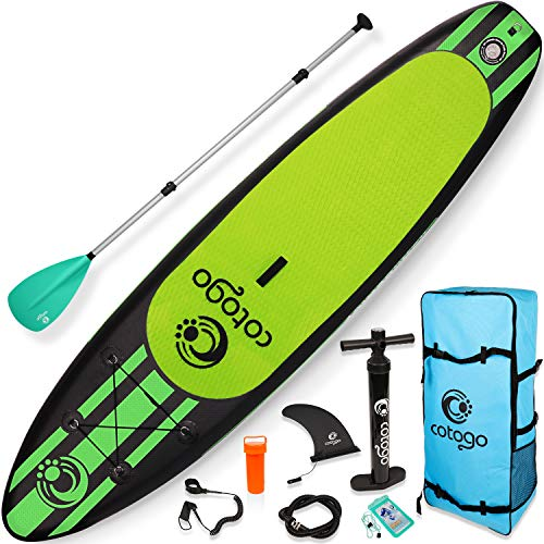 Cotogo Tabla de Surf Hinchable con Bomba, Remo, Aleta, Kit de Reparación, Cuerda de Pie Extraíble, Bolsa de Almacenamiento Tabla de Sup para Surf Carreas Pesca Yoga (De Color Verde Oscuro)