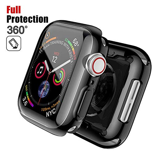 Chok Idea Horloge Case Beschermer Compatible with Apple Watch 5 & 4 44mm,360° Volledig Dekking Beschermend Bumper Omringen Anti-fall Zweetbestendig TPU Cover Replacement for iWatch,Black
